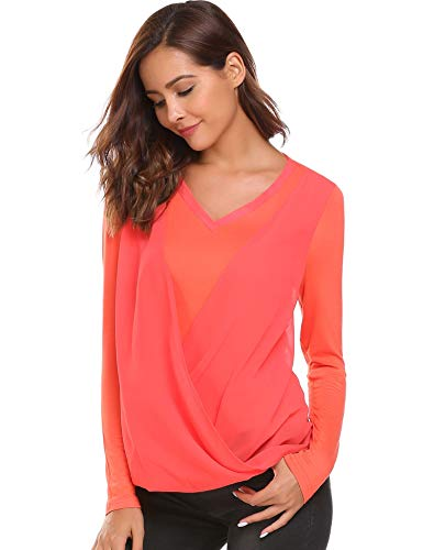 Finejo Damen Langarm Shirt Elegant Rundhals Blusen Pailletten Shirt sexy top Transparent Tüll Top Stretch Unregelmäßiger Saum Tunika Fledermaus Oberteil Spitzenshirt Herbst Schwarz (XXL, Orange)
