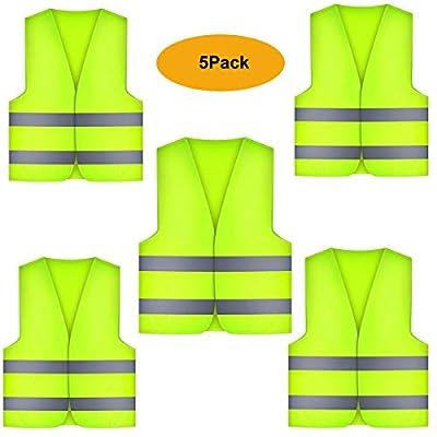 ZYDTRIP 5er Pack Warnwesten Auto Pannenweste Warnweste, gelb waschbar 360 Grad reflektierende Warnweste für die Sicherheit von Fahrern, Fahrern und Arbeitern mit hohem Risiko