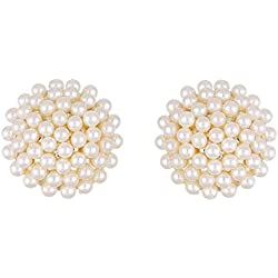 Aabhu Gold Plated White Pearl Studded American Diamond Earrings Jewellery For Girls And Women