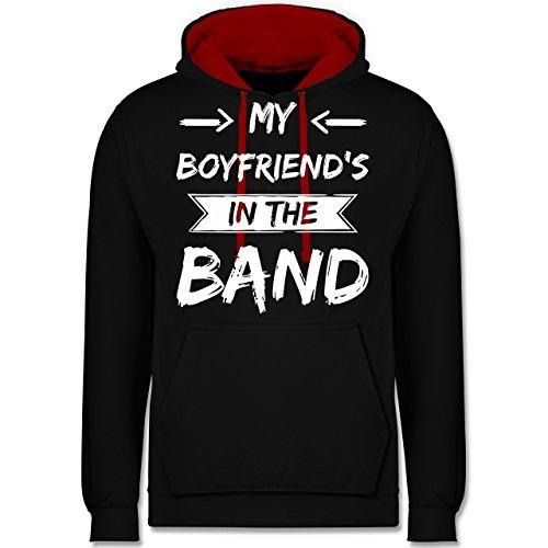 Statement Shirts - My boyfriend's in the band - Kontrast Hoodie Schwarz/Rot