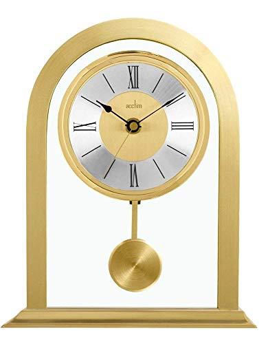 Acctim Colney 36938 Tischuhr, Metall und Glas, goldfarben (Gold-pendel-uhr)