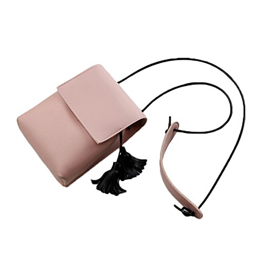 4b6394fea894c Espeedy Mini Frauen Kleine Umhängetasche mit Quaste Mädchen Messenger  Crossbody Tasche PU Leder Handy Münztaschen Pink