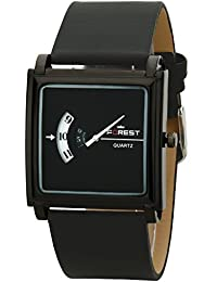 Forest Rich Look Black Dial Round Shape Numeric Hands Black Leather Strap Analogue Wrist Watch For Mens & Womens...