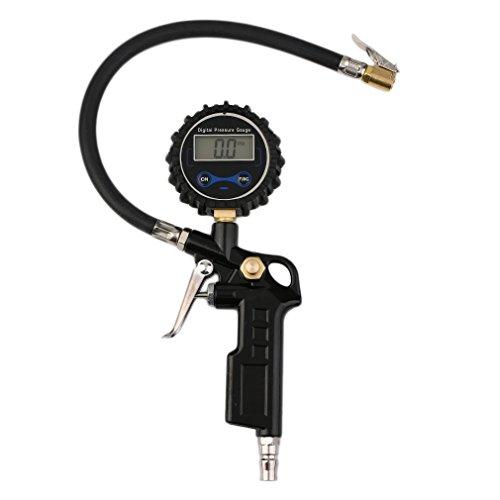 Cartknights-Manometro-DigitaleTubo-Flessibile-in-Gomma-220-PSI-Alta-Precisa-Pistola-Gonfiaggio-per-Pressione-Pneumatici-con-schermo-LeD-di-Auto-e-MotoNero