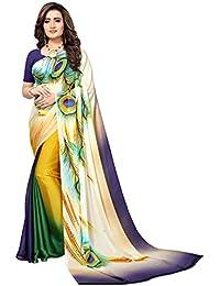 Kanchnar Women's Chiffon Georgette Multicolred Stylish Designer Saree