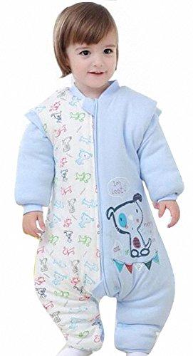 Happy Dream Gigoteuse bébé hiver Coton Manches Longues -garcon -Fille pyjama enfant confort combinaison à pieds. (L:85-95CM(12- 24 mois), Bleu dog)