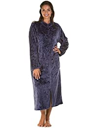 9a3c25a173 Ladies Luxury Soft Feel Embossed Zip Front Long Dressing Gown Robe Wrap  Small to Plus Sizes