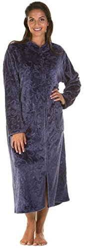 (22 - 24, Navy) - Ladies Luxury Soft Feel Embossed Zip Front Long Dressing Gown Robe Wrap Small to Plus Sizes UK 10-24