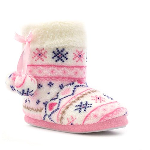 The Slipper Company Girls Pink Sparkle Knit Fur Top Bootie Slipper - Size 2 UK - Multicolour