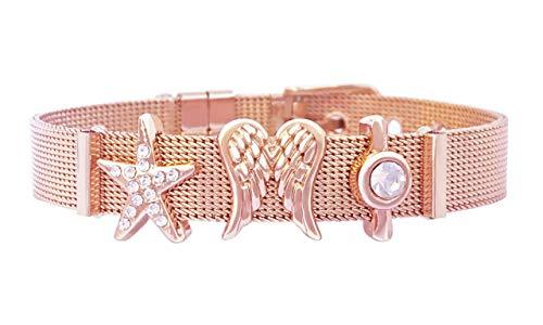 HERZMOND CHARMBAND Damen Mesh Armband (Edelstahl) individuell mit Charm & Anhänger stylen (größenverstellbar und Charms variabel auswechselbar) (HERZMOND Mesh Charmband STARS & ANGELS Rosegold) (Charms Gold Angel)