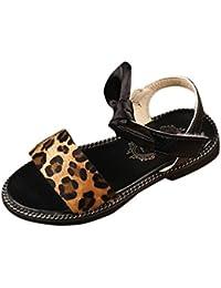 Malloom Verano Niños Niñas de Leopardo de Color Sólido Gamuza Sandalias Playa Zapatos de Princesa