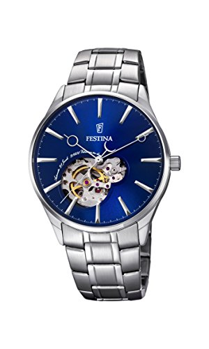 Festina Men's Automatic Watch with Blue Dial Analogue Display and Silver Stainless Steel Bracelet F6847/3