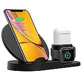 XianRui Soporte de Carga para Apple Watch, Estación de Carga Rápida Qi Inalámbrica 3 en 1 Soportes de Carga de para Phone X XS MAX 8 Plus y Teléfonos Qi-Enabled AirPods e iWatch Series 4/3/2/1