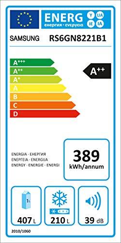 Samsung RS8000 RS6GN8221B1/EG Side-by-Side Kühlschrank / 407L Kühlteil / 210L Gefrierteil / Schwarz / Frischwasseranschluss [Energieklasse A++]