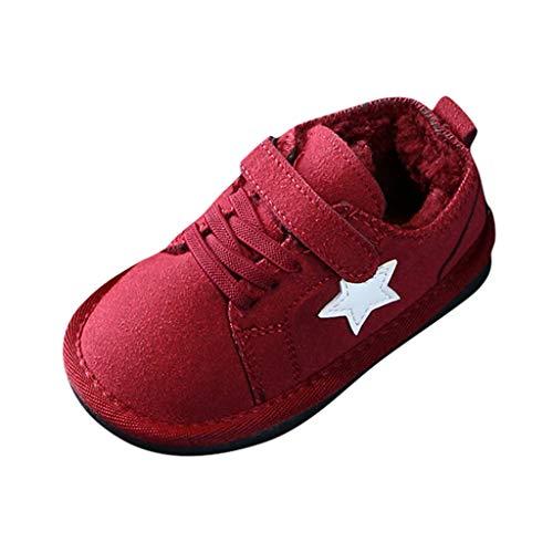 Feinny Winter Kinder Kinder Baby Feste Flache Warme Kurze Stiefel Schnee Bootie Schuhe,Ou-Code: 22,5-30, Geeignet für Kinder von 15 Monaten bis 7 Jahren,Wein