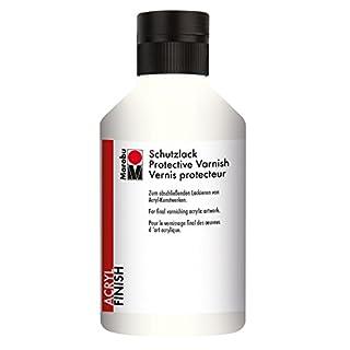 Marabu 12300013856 - Schutzlack, dünnflüssiges Acryl - Finish auf Wasserbasis, lichtecht, wasserfest, zum abschließenden Lackieren von Kunstwerken, 250 ml, transparent