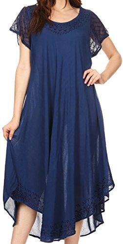 Sakkas 00931 Everyday Essentials Cap Sleeve Kaftan Kleid/Cover Up - Navy - Eine Größe