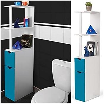 probache meuble wc tagre bois gain de place pour toilette 2 portes bleues