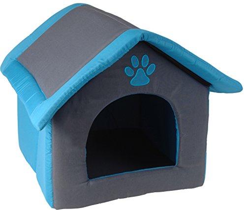 Indoor Hundehütte Hundehaus Katzenhöhle 51x49x40cm Faltbar herausnehmbares Kissen waschbar blau-anthrazit