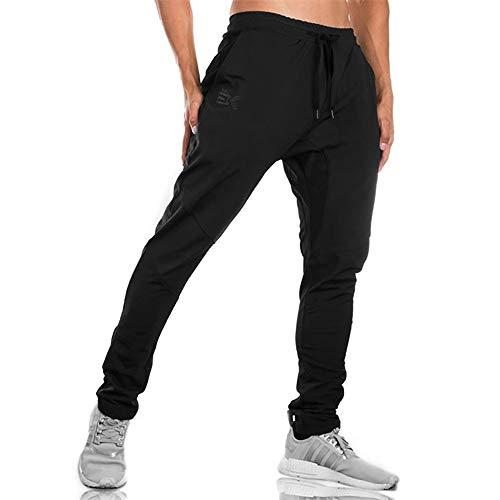 Uomo Pantaloni Sportivi per Jogger da Ginnastica Tuta Sottile Bottoms da Jogging Cerniera Pantaloni da Corsa con Doppia Tasca