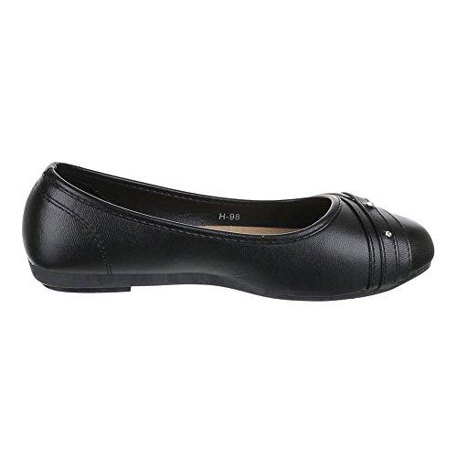 Damen Schuhe, H-98, BALLERINAS STRASS BESETZTE PUMPS Schwarz