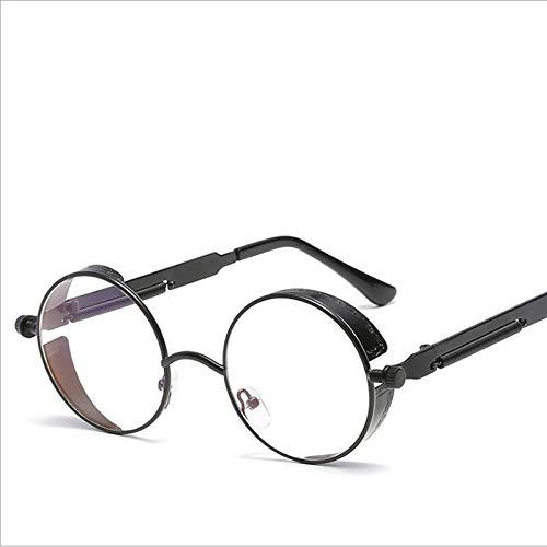 Runde Steampunk Sonnenbrille Männer Frauen Mode Spiegel Gläser Markendesigner Retro Brillengestell Vintage Sonnenbrille UV400 (Color : Black clear)