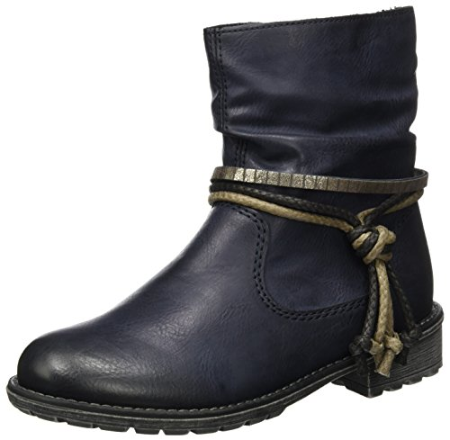Rieker Kinder K5205, Zapatillas para Niñas, Azul (Adria/Jeans), 34 EU
