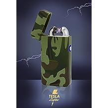 Tesla Lighter T08 Lichtbogen Feuerzeug USB Feuerzeug Arc Lighter elektronisches Feuerzeug wiederaufladbar Double-Arc verschiedene Farben und Muster (Camouflage/Flecktarn)