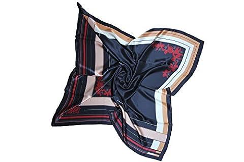 FERETI carré foulard noir et rouge Orchid 100% soie satin main roulé