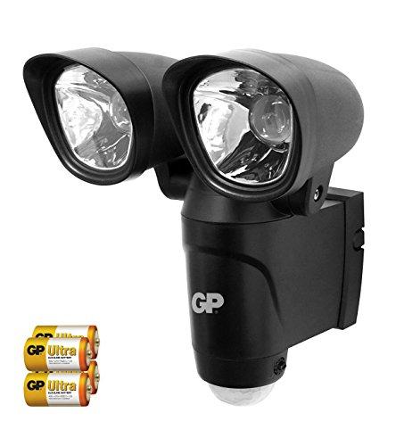 GP Safeguard RF4 - drahtlose, batteriebetriebene Sicherheits-Lampe mit Bewegungsmelder und 2 hellen LED-Strahlern, wetterfest nach IP44, schwarz (inkl. Batterien und Installationsmaterial)