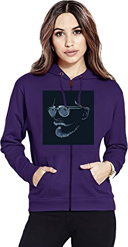 Man with SunGlasses Womens Zipper Hoodie X-Large