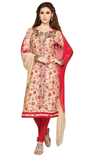 Oomph! Women's Unstitched Salwar Suit/Dress Material/Embroidered Cotton Dress Material, Brown