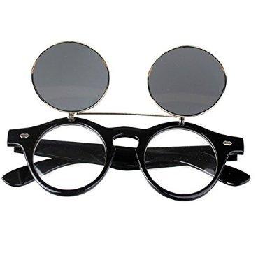 H-vuality-C Steampunk Clamshell Runde Sonnenbrille Double Retro Sonnenbrille (Moderner Runder Schnitt)