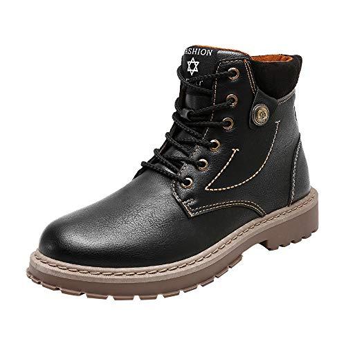 Manadlian-Homme Bottes Hiver Homme, Martin Bottes Cuir Rétro Bottes de Neige Imperméable Chaussures Outdoor Boots Fourrure Cuir Imperméable Sneakers 39-44
