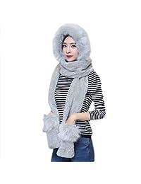 Femme Ensemble d hiver Bonnet Echarpe Gants 3 en 1 en Fausse Fourrure  Chapeau d 8d3b554306f