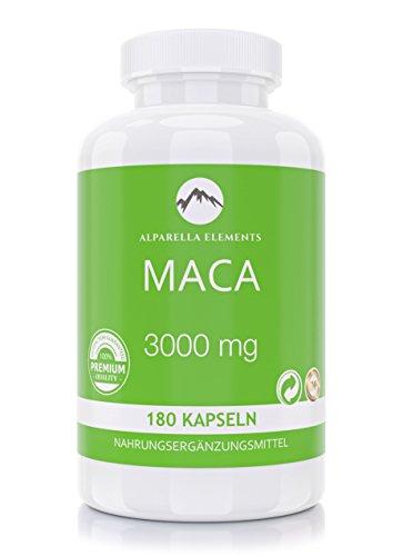 Maca 3000 Wurzel Extrakt Kapseln von Alparella Elements | 180 Kapseln | 3000 mg hochdosiert | Made in Germany (Frauen Depression Pillen Für)