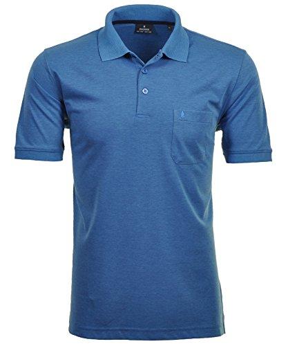 Ragman Herren Kurzarm Softknit Poloshirt Blau