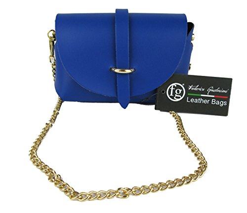 Pochette design avec bandoulière en cuir véritable Made in Italy bleu