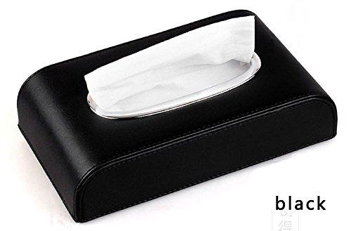 DK rechteckig aus PU-Leder mit Gewebe-Tissue Halter für Home Office, Schwarz (Stück 5 Leder Wohnzimmer)
