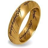 Herr der Ringe - Der Eine Ring Edelstahl vergoldet in prachtvollem Schmuckdisplay aus Metall