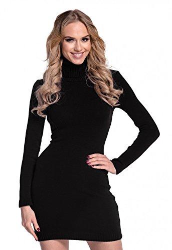 Glamour Empire. Donna Vestito aderente lavorato a maglia collo alto. 888 Nero