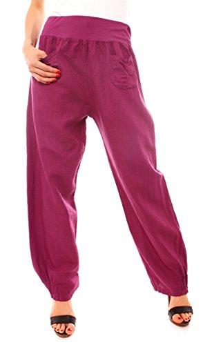 Easy Young Fashion Damen Casual Leinenhose Lang
