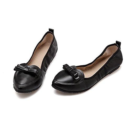 VogueZone009 Femme Couleur Unie Pu Cuir à Talon Bas Pointu Tire Chaussures à Plat Noir
