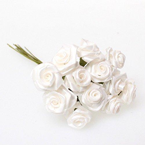 144 Diorröschen Satinröschen Rosen Hochzeit Weiß Stoffrosen Röschen Hochzeitsdekoration