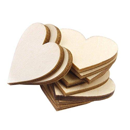MagiDeal 25 Stück Unvollendetes Hölzernes Herzverzierung Hochzeiten Plaques Handwerk - Herz ohne Loch, 8cm