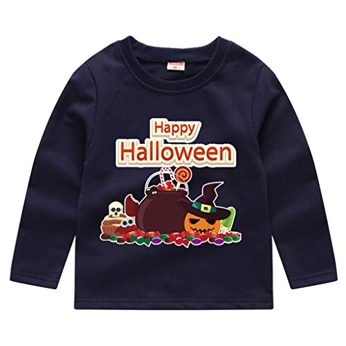 MoneycomBébé Enfant en Bas âge Enfants Garçons Filles Citrouille d'halloween Sweat-Shirt Tops T-Shirt Halloween Party Retro Patchwork Fairy Tale Vintage Marine(4-5 Ans)