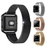 """Fitbit Blaze Accessories Band Large, EH HE Milanese Loop Stainless Steel Mesh Bracelet Metal Replacement Strap Band with Unique Magnet Lock for Fitbit Blaze Smart Fitness Watch Black (6.3""""-9.1"""")"""