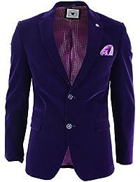 Marc Darcy Giacca Aderente da Uomo Blazer Elegante in Velluto Viola Stile a  2 Bottoni 973cccaafc1
