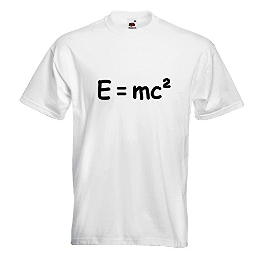 KIWISTAR - E=mc2 - e = mc2 Einstein T-Shirt in 15 verschiedenen Farben - Herren Funshirt bedruckt Design Sprüche Spruch Motive Oberteil Baumwolle Print Größe S M L XL XXL Weiß