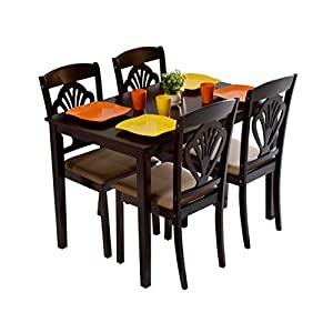 DeckUp Vivanta Four Seater Dining Table Set (Rubber Wood, Dark Walnut)